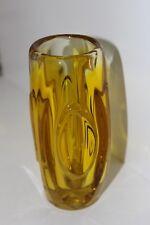 Glas Vase Sklo Union Rosice von Rudolf Schrotter Schrötter 50er Gelb Czech