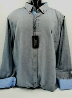 Mens New RALPH LAUREN  Grey Shimmer, Long Sleeve Shirt 4XL RRP $139 Made in USA