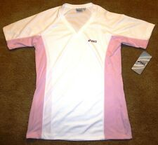 Asics Women's Eikoku V-Neck Short Sleeve Tee 579924-0634 White / Pink Medium
