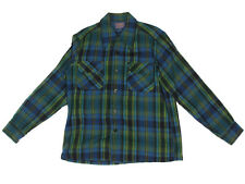 PENDLETON Western Shirt Flannel Wool Blue Green Plaid Mens - M - DMG/0118