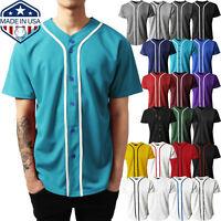 Mens Baseball JERSEY Raglan Plain T Shirt Team Sport Button Fashion Tee Casual