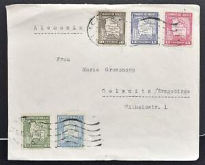 BOLIVIA to GERMANY 1937 Maps on Scarce Multif 5-Color Airmail Flight Cover ORURO