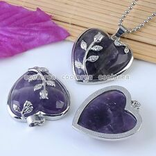 Charm Natural Amethyst Gemstone Purple Heart Stone Bead Pendant For Necklace
