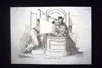 Incisione d'allegoria e satira Tribunale al servizio del regno Don Pirlone 1851