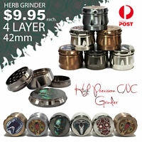 Herb grinder 4 layer zinc alloy - smoking pipe - brass cones - bong - Muller
