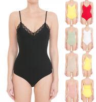 S M L Women's Basic Lace Trim Cotton Cami Bodysuit Ribbed Stretch Knit Tank Top