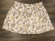 Mod Cloth Bea And Dot Rare Clock Novelty White Skirt Women's Size 4X Lined BOHO