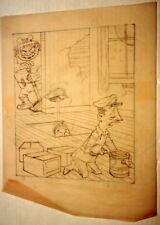 AL KILGORE pencil drawing 8 x 10 FLOOR COVERING WEEKLY Magazine Cartoon AKd443
