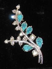 Long Vintage Jewellery Aquamarine&Diamanté Glass Crystals, Silver Tone Brooch