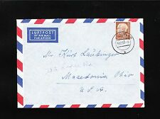 Germany 60p Heuss 1952 Uslar Air Cover to USA 4t