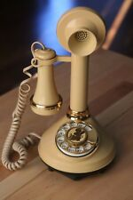 VINTAGE 1973 WESTERN ELECTRIC CANDLESTICK TELEPHONE ROTARY PHONE PALE BROWN