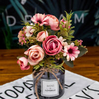 12Head Artificial Fake Roses Silk Flower Wedding Party Bridal Bouquet Home Decor