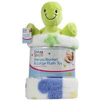 Printed Sherpa Newborn Soft Baby Blanket Pram Crib Moses Basket Plush Toy Lime