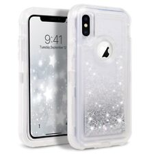 For iPhone XS Max Liquid Glitter Defender Case (Works with Otterbox Clip) Silver