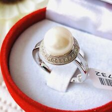Pearl & Zircon Rhodium Overlay 925 Sterling Silver Ring Size O