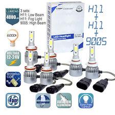 6x 9005 + H11 + H11 6000K LED Headlights High Low Beam +Fog Light Bulbs