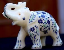 White Marble Elephant Home Decor Gifts Lapis Handmade Work