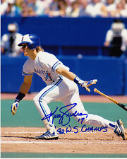 KELLY GRUBER  TORONTO BLUE JAYS  92 WS CHAMPS   ACTION SIGNED 8X10