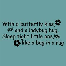 Butterfly kiss & ladybug Vinyl Sticker Decal wall quote