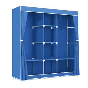 Portable Clothes Closet Fabric Wardrobe Double Rod Storage Organizer Blue 46""