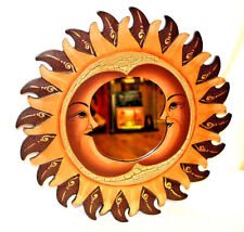 Wall Decor Mirror Beautiful Nice Gift Painted Carved Round Sun Moon Brown Orange