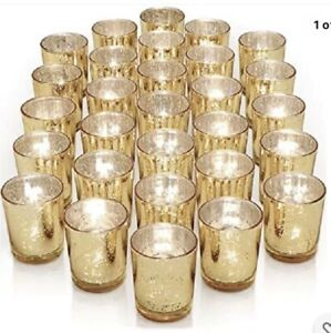Just Artifacts 22 Pcs Speckled Gold Mercury Glass Votive Candle Holder 2.75 Inch