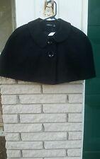 Caplet Shrug bolero Black textured Acrylic/Wool 2 button dress elegant sz.PL New