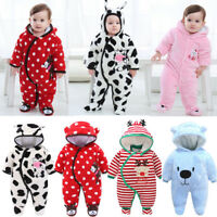 Baby clothes newborn infant girls boys winter warm padded thick bodysuit Multi
