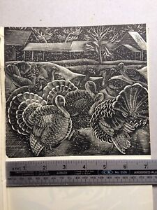 1950s Wood Engraving Print Turkeys in the Snow by Mary Groom