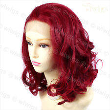 Wiwigs Lovely French Lace Front Short Curly Burgundy Red Mix Ladies Wig