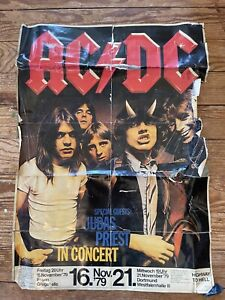 ACDC Highway To Hell 1979 Original Vintage Concert Poster Germany + Judas Priest
