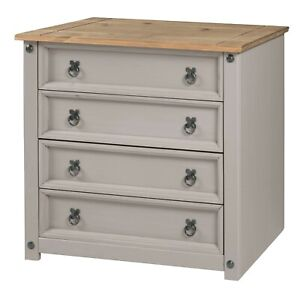Corona Chest of Drawers 4 Drawer Grey Wax Small Solid Pine by Mercers Furniture®