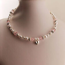 2pc set - Girls Kids Necklace & Ring Set Love Heart/Pearl/Pink Bead Brand New