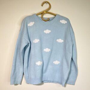 Medium womans puff cloud blue skies light sweater