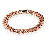 Pure Solid Copper Bracelet Arthritis Cuban Chain Curb Link Rider 9.5mm Bracelet