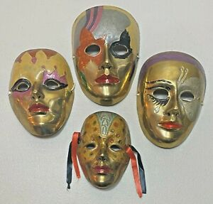 Lot of 4 Masquerade Brass Masks Wall Hanging Art - India