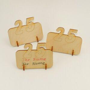7 Stück Platzkarte Tischkarte mit 25 Silberhochzeit Geburtstag Holz Sonderpreis
