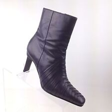 Ann Marino Purple Leather Ankle Boots Herringbone Weave Square Toe Heels Sz 6 M