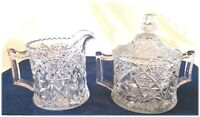 Vintage Cut Glass Crystal Cream And Sugar Bowl With Cover Very Ornate Deep Cuts