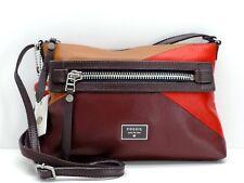 Fossil Dawson Crossbody Shoulder Handbag Red Multicolor Leather Patchwork New!