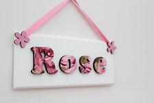 Girls wooden bedroom door sign: rose design, new baby gift Christening gift