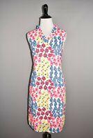 TALBOTS $149 Vintage Floral Ruffle Neck Shift Dress Sleeveless Eyelet Size 8P