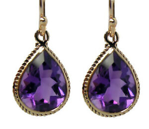 E120 Genuine 9ct Solid Gold NATURAL Large Amethyst Tear Drop Earrings 7.00ct