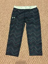Under Armour Heat Gear Girls Dark Green Sz Y Small Printed Capri Legging Pants