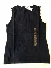 Nwt Banana Republic Scallop Trim Forever Sleeveless Sweater Navy Sz XS