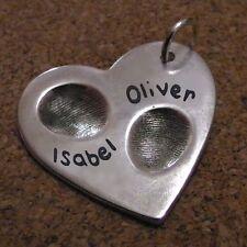 Fingerprint Jewellery - Double Fingerprint Heart Pendant - Gift for her