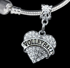 Volleyball Charm  Fits European Bracelet   crystal heart style   (charm only)