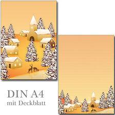 2 Schreibblöcke Winterdorf A4 24 Blatt Briefpapier Motivpapier Block Weihnachten