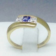"""STUNNING 9CT YELLOW GOLD *BLUE TOPAZ & CUBIC ZIRCON* ENGAGEMENT RING  """"N""""  004"""