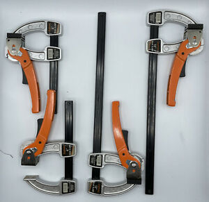 """Lot of 4 Jorgensen Gear Clamp Bar Clamps (2) 38004 4"""" (2) 38012 12"""" Wood Working"""